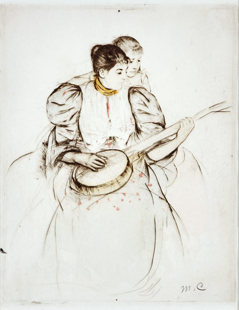 "Mary Cassatt. ""The Banjo Lesson,"" (2nd-state), 1893, Color drypoint and aquatint with monotype inking; 11 3/4 x 9 3/8-inches."
